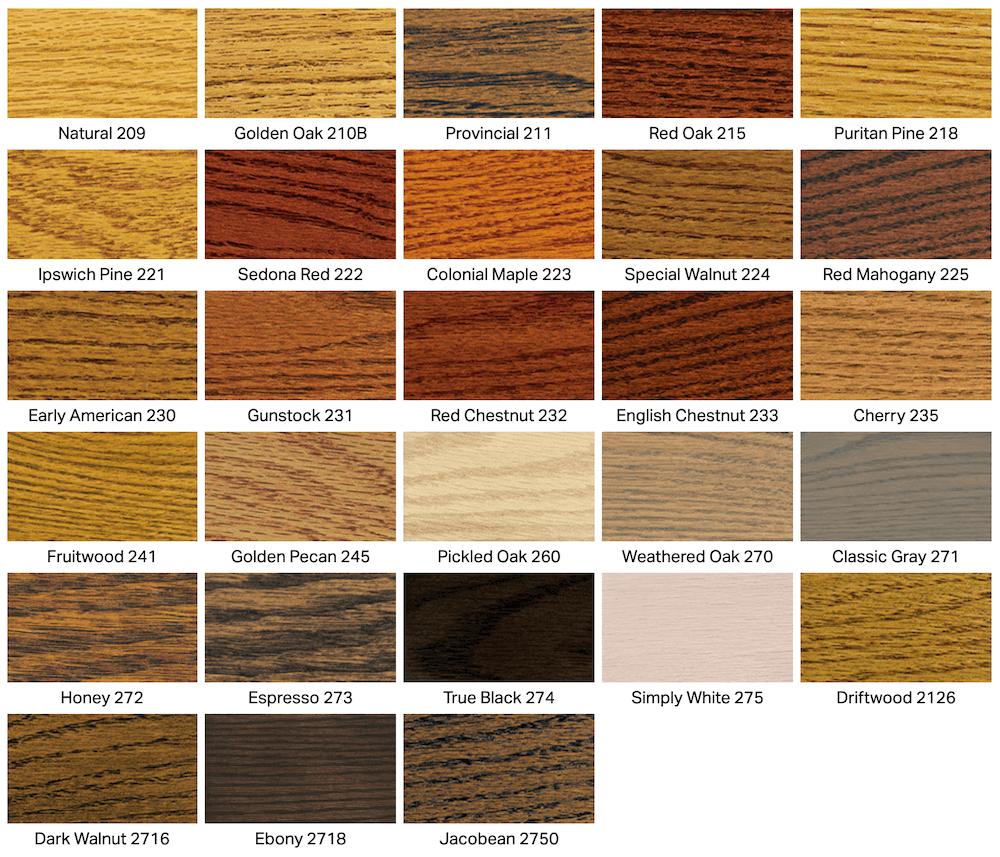 Wood floor staining color options for a variety of woods from Fabulous Floors Baltimore
