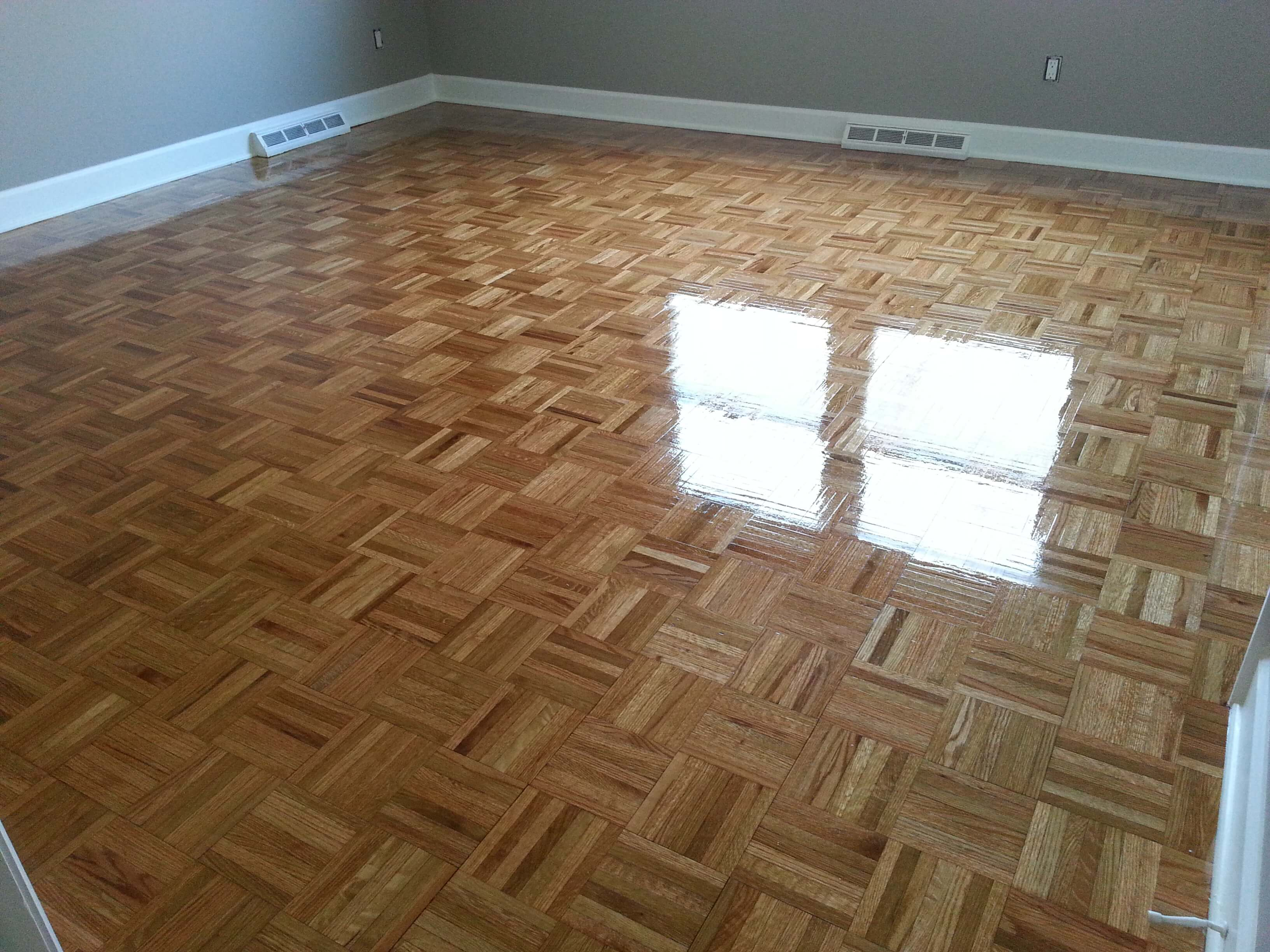 a refinished parquet wood floor done by fabulous floors baltimore