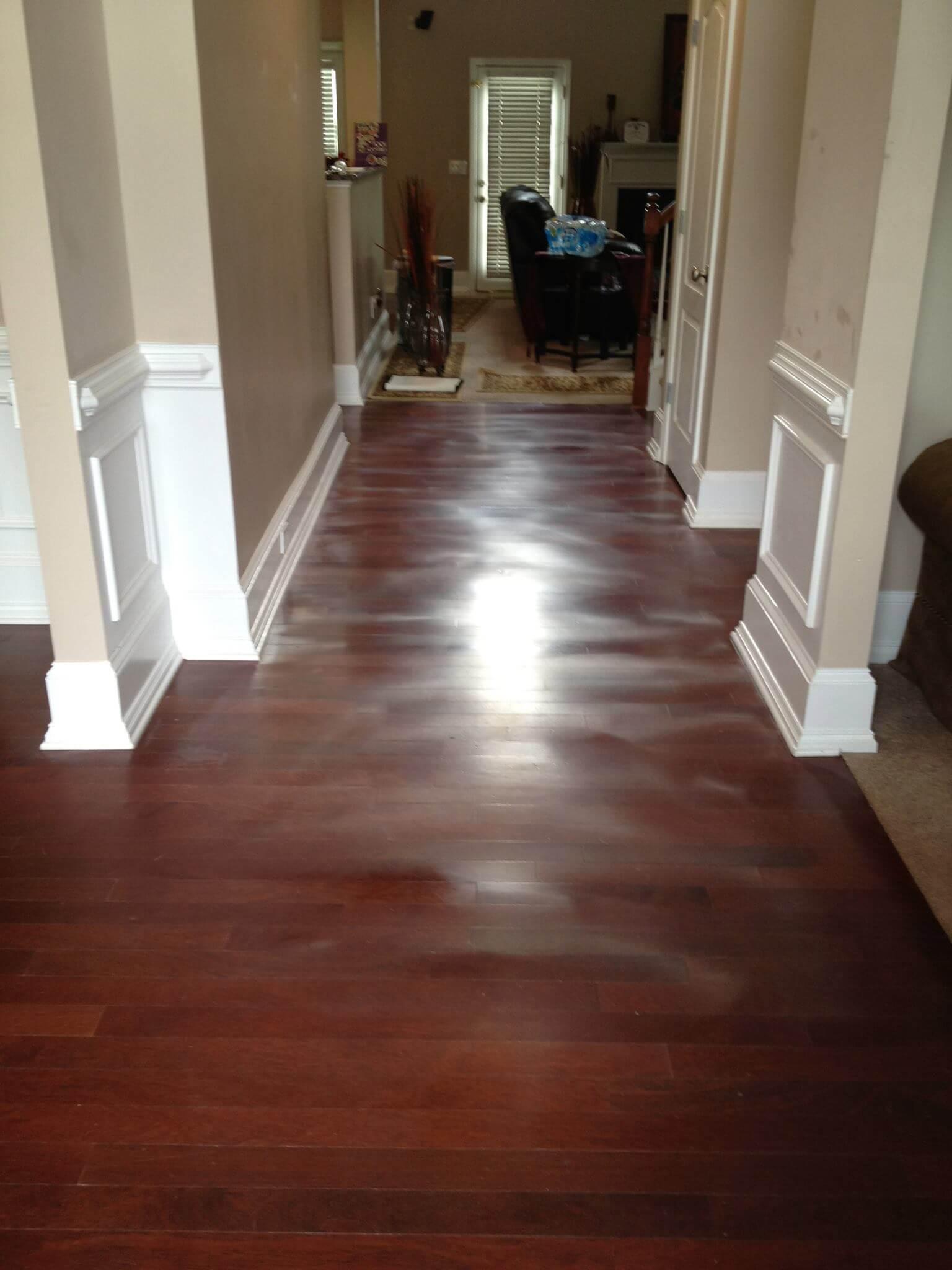 a hardwood floor showing signs of warping