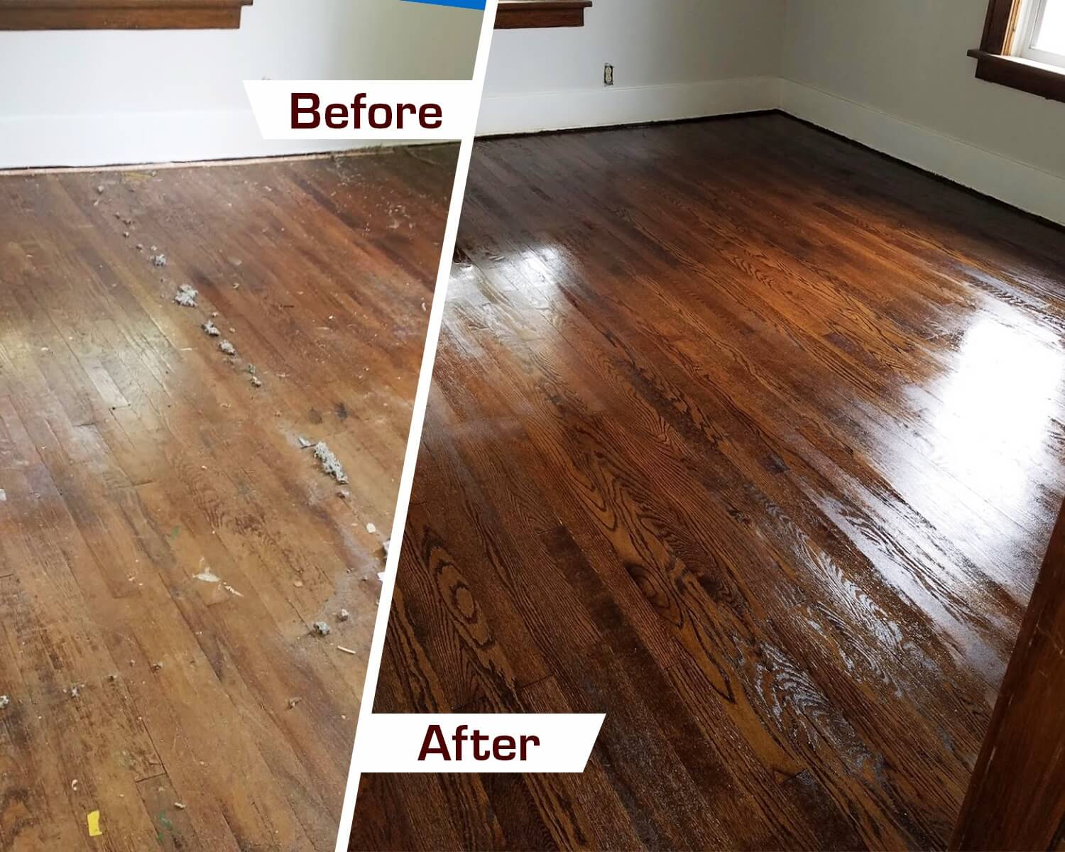 Restored Hardwood Refinishing Ellicott City MD Before and After Photo
