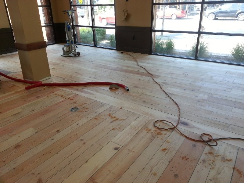during one of our hardwood floor refinishing projects.