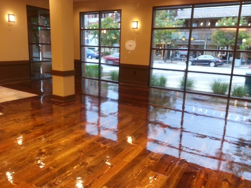 the after shot of our commercial hardwood floor refinishing project