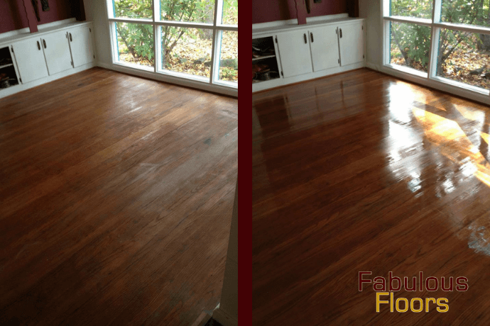 before and after hardwood floor refinishing in severn, md