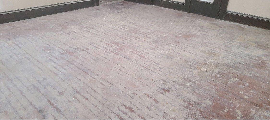 A very damaged wood floor