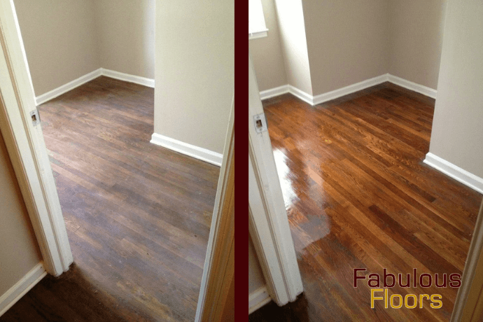 before and after hardwood floor refinishing in columbia, md